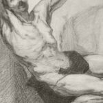 Graphite drawing detail depicting the torso of an older man about to be crucified by Maurilio Milone