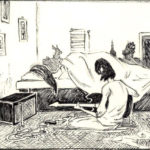 Drawing of a young man, sitting crossed legged on the floor, playing a guitar while a woman sleeps on a bed, by Maurilio Milone
