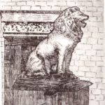 Soft-ground etching depicting a roaring lion statue by Maurilio Milone
