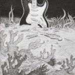 Drawing of DNA strands coming out of an exploding guitar at the bottom of the sea by Maurilio Milone