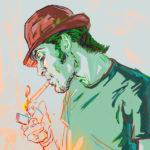 Digital painting of a young man ligthing a cigarette by Maurilio Milone