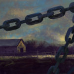 Digital painting, a barn and a field seen through a foreground of chains by Maurilio Milone